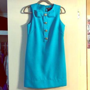 Jessica Howard Blue Gold Button Sleeveless Dress